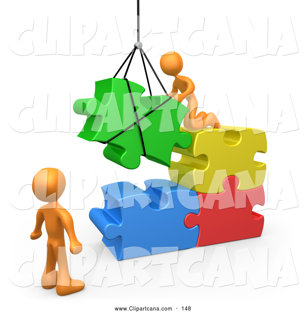 hight resolution of vector clip art of 3d orange men directing a hoisted puzzle piece into a space