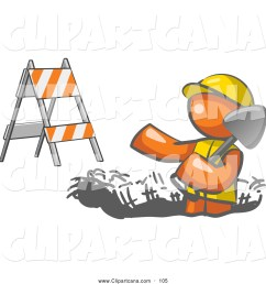 vector clip art of a hard working orange man wearing a vest and hardhat standing in a hole while digging with a shovel in a construction zone [ 1024 x 1044 Pixel ]