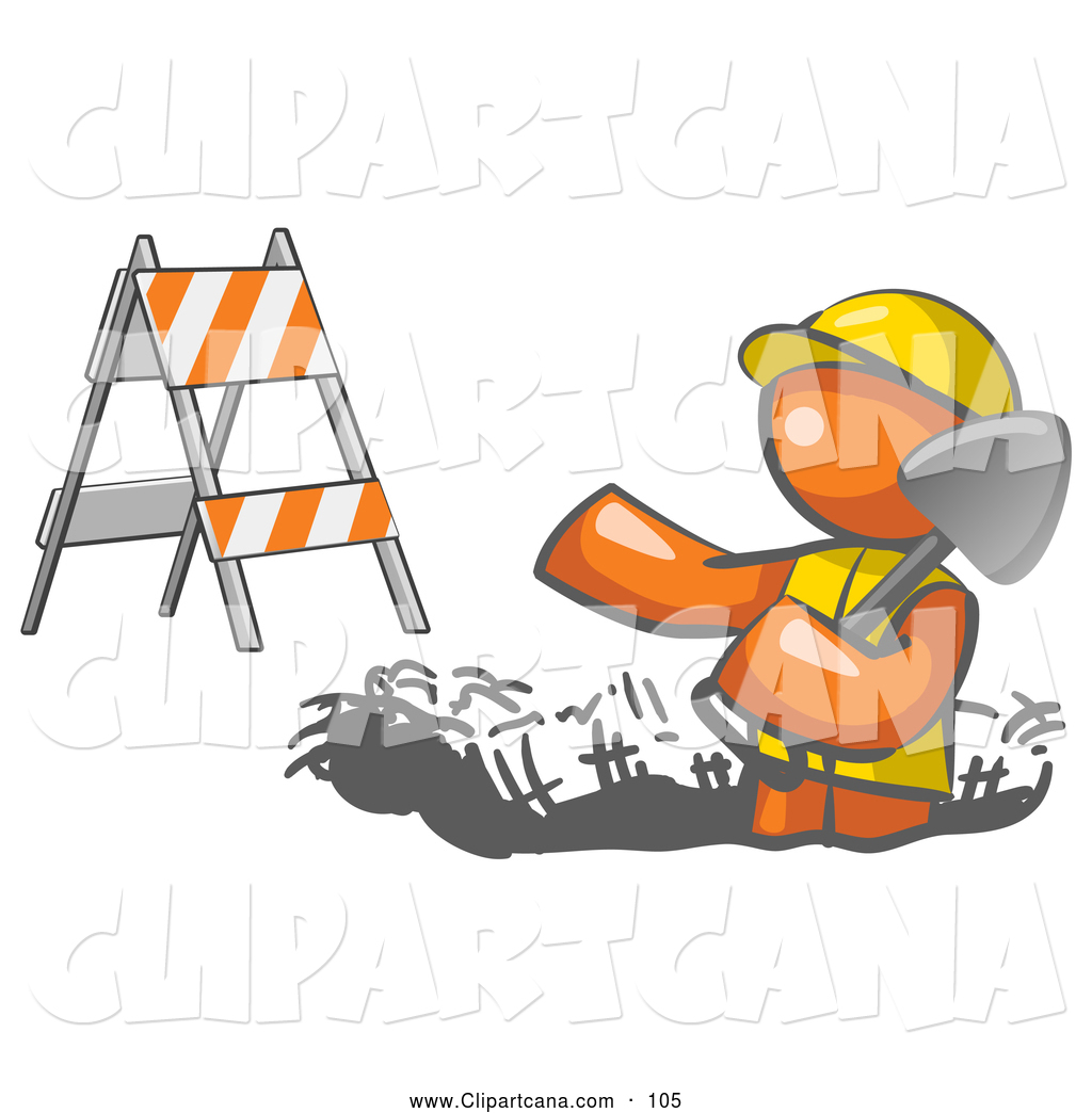 hight resolution of vector clip art of a hard working orange man wearing a vest and hardhat standing in a hole while digging with a shovel in a construction zone