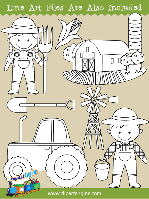 Farm Clipart Black And White : clipart, black, white, Collection, Personal, Commercial
