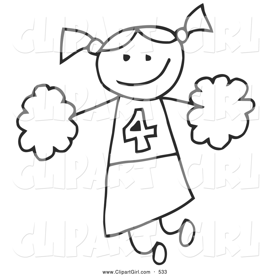 Clip Art Of A Happy Stick Figure Cheerleader Girl Holding
