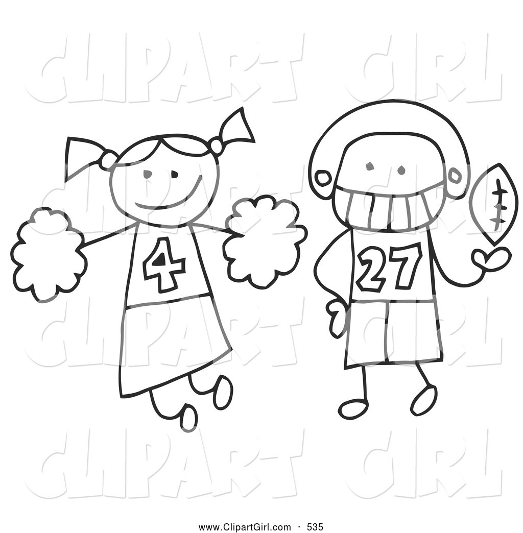 Clip Art Of A Stick Cheerleader And Football Player By C