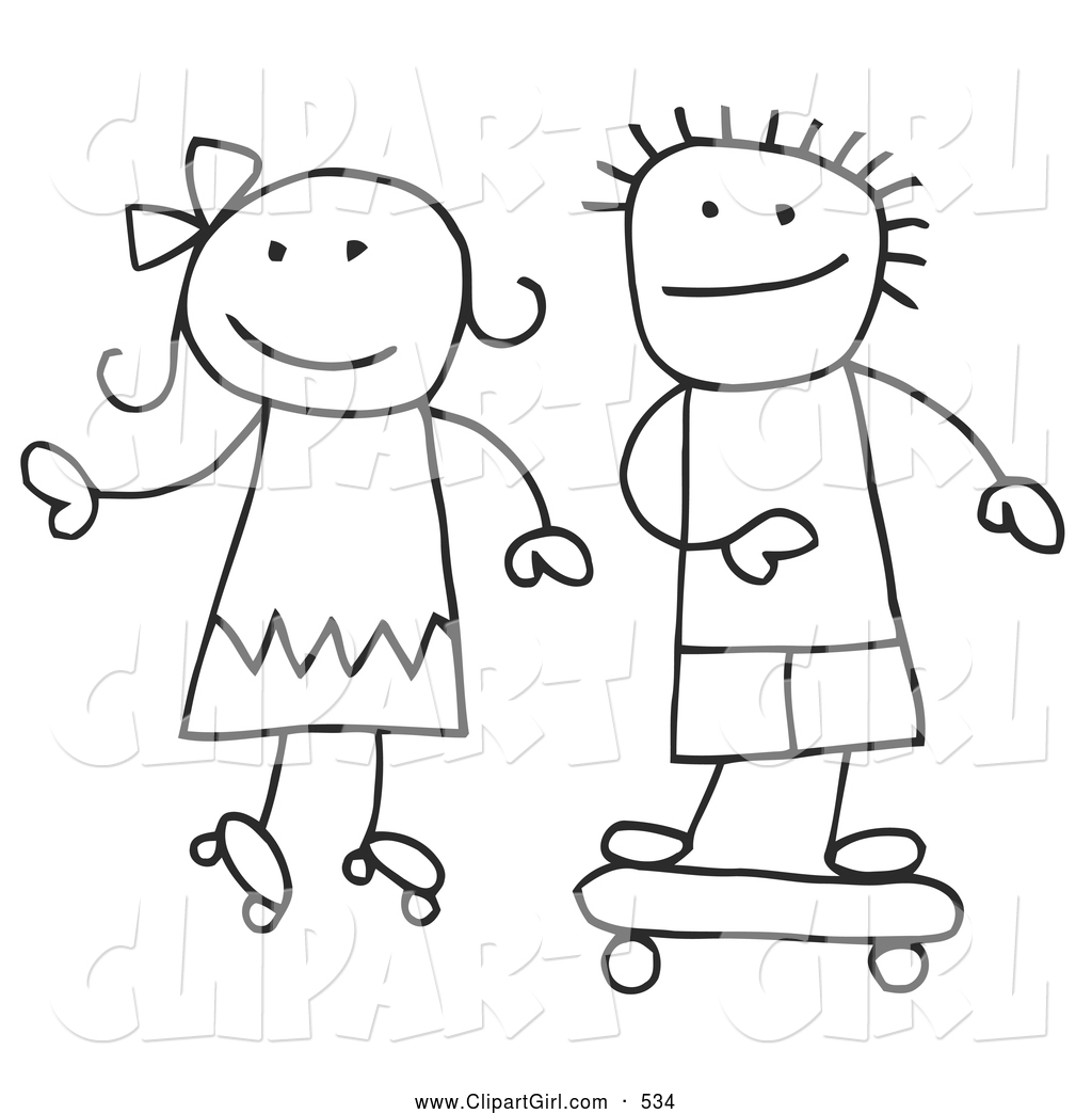 Clip Art Of A Stick Figure Boy And Girl Skateboarding And