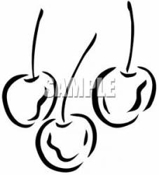 Clipart of an Outline of Cherries
