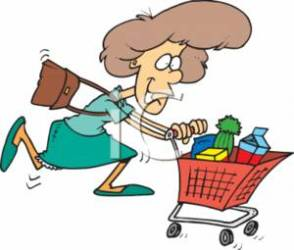 shopping grocery clipart cart woman groceries rushing cartoon go chores running household food gathering buying hurrying chore royalty through brother