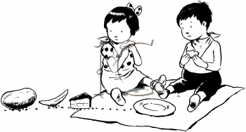 ants clipart picnic children clip steal two watching