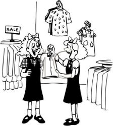 Black and White Cartoon of Twin Girls Clothes Shopping Royalty Free Clipart Image
