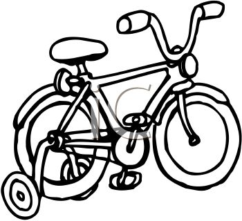 Picture of a Bicycle With Training Wheels In Black and