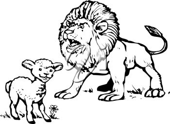 Clipart Illustration of a Lamb and a Lion