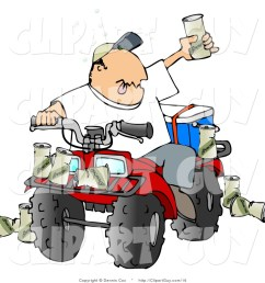 clip art of a drunk man sitting on a four wheeled all terrain vehicle and holding up his beer [ 1024 x 1044 Pixel ]