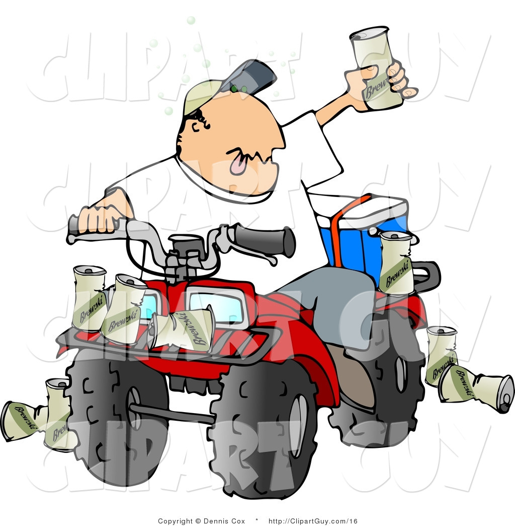 hight resolution of clip art of a drunk man sitting on a four wheeled all terrain vehicle and holding up his beer