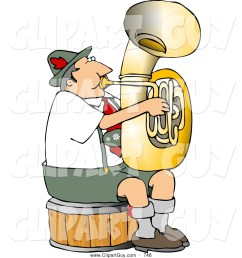clip art of a german tuba player practicing by himself for a band [ 1024 x 1044 Pixel ]