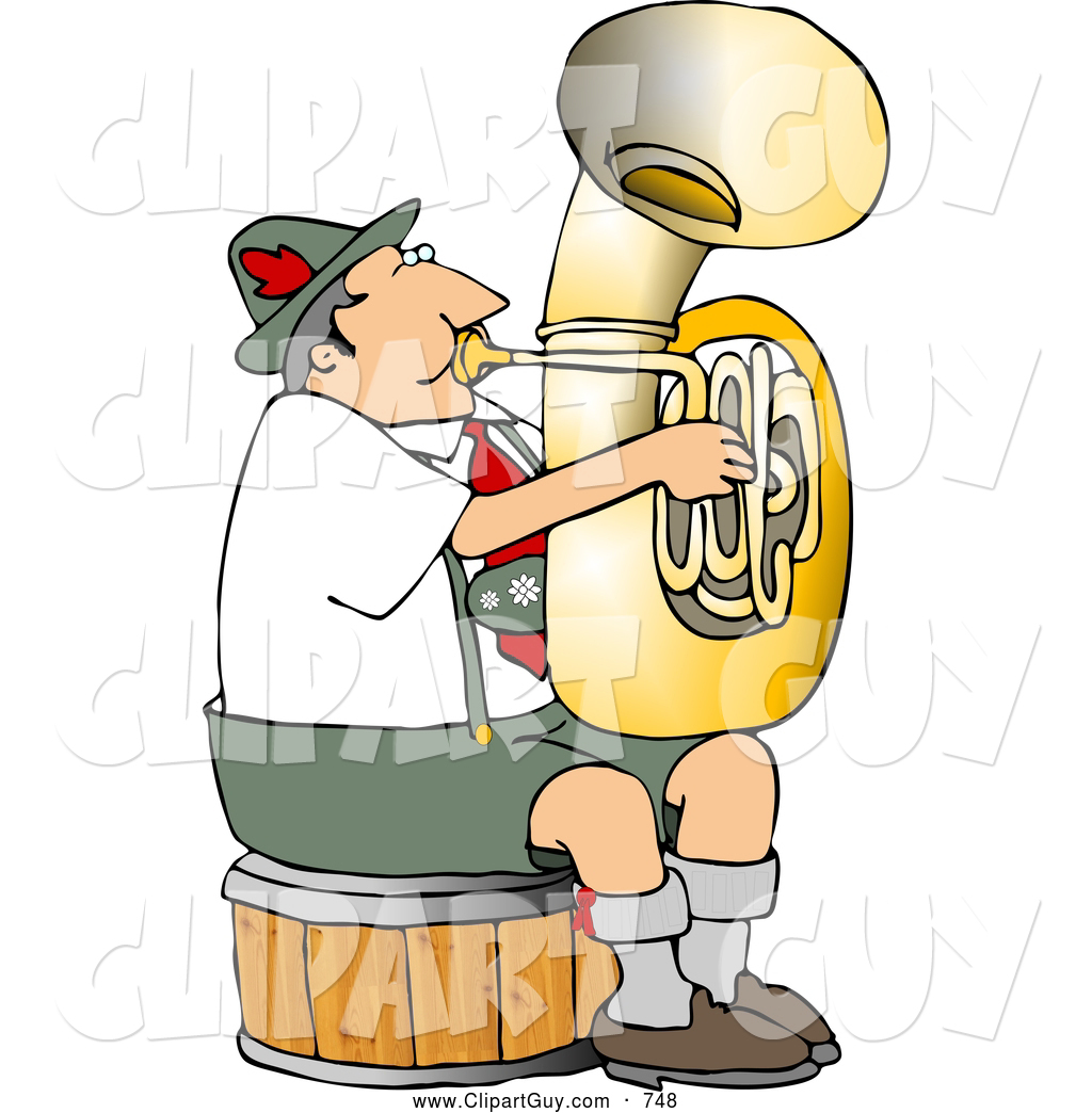 hight resolution of clip art of a german tuba player practicing by himself for a band
