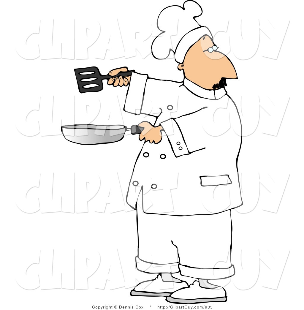 Clip Art Of A Male Cook Holding A Skillet And Spatula And