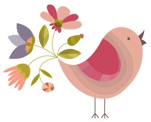 bird clip art cartoon flowers