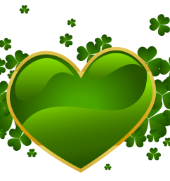 st patricks day heart with shamrock clipart [ 1990 x 1501 Pixel ]