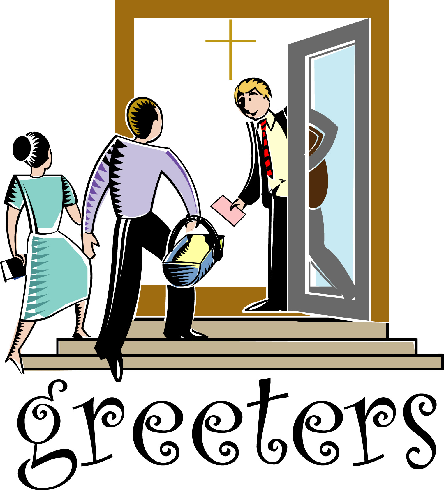 hight resolution of church greeters clipart