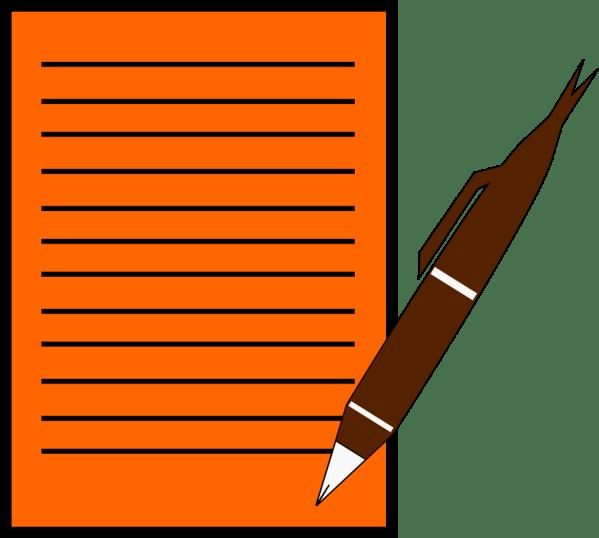 Pen Writing On Paper Clip Art