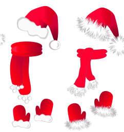 transparent christmas santa hat and scarfsllection clipart [ 4048 x 2314 Pixel ]