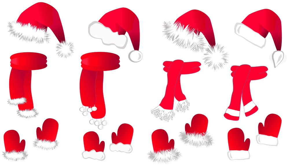 medium resolution of transparent christmas santa hat and scarfsllection clipart