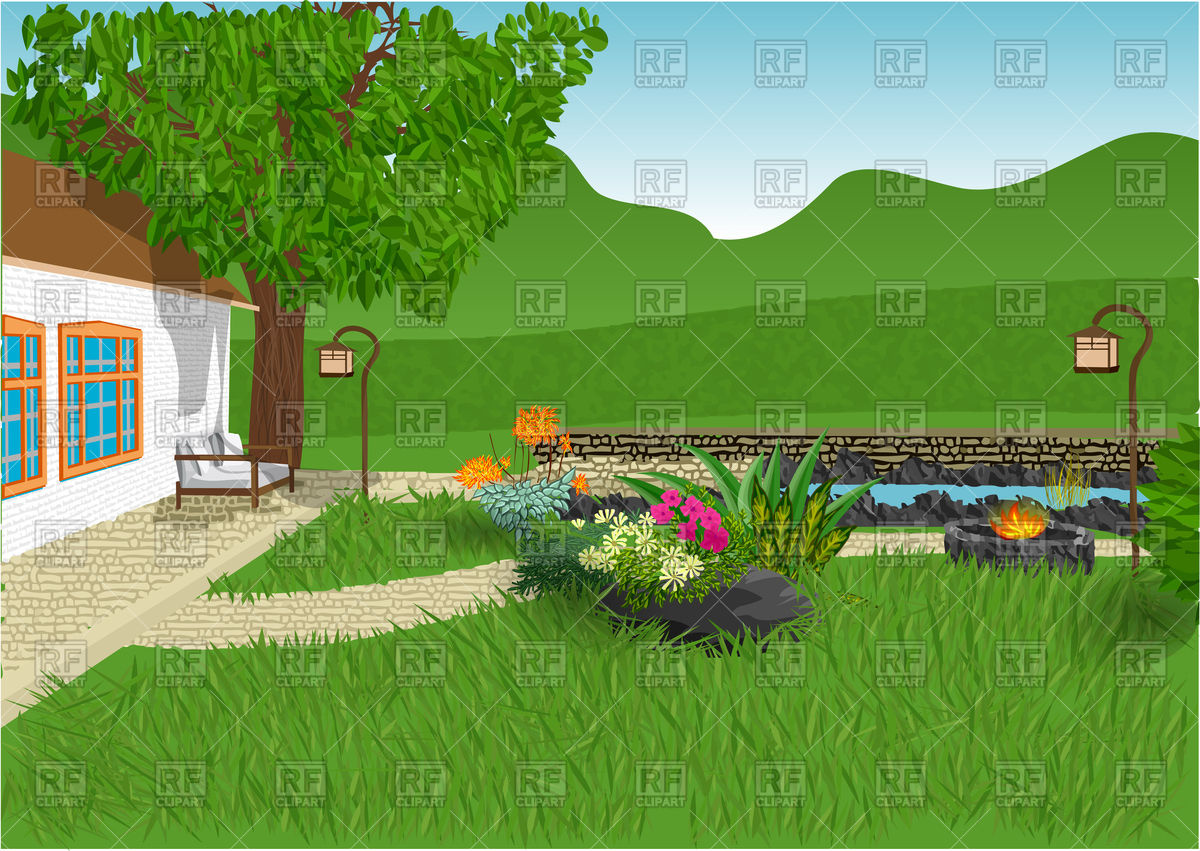 hight resolution of modern home and garden with flowers small pond vector image clipart