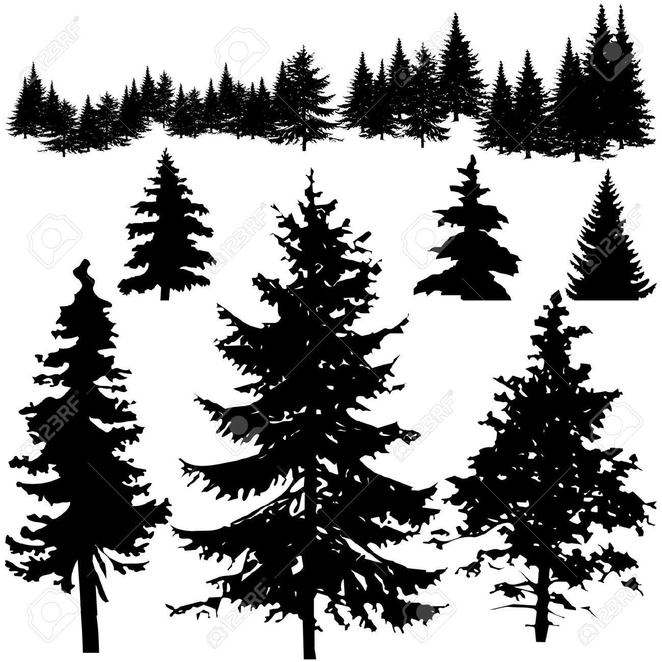 hight resolution of pine tree silhouette clipart 2