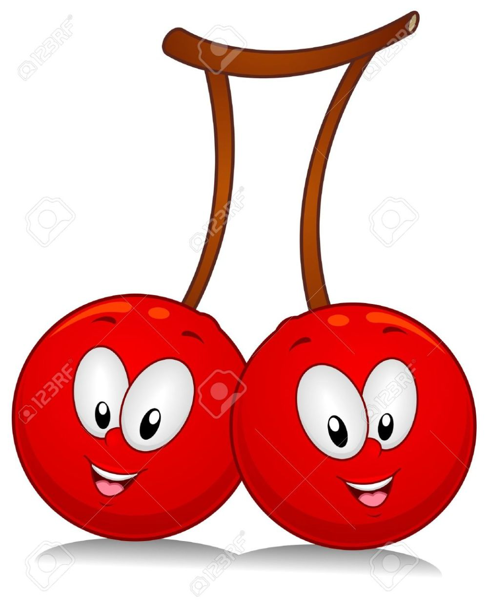 medium resolution of a pair of cherry characters poised sideside stock photo