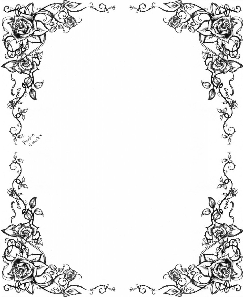 Hat And Frames Black And White Clip Borders Art