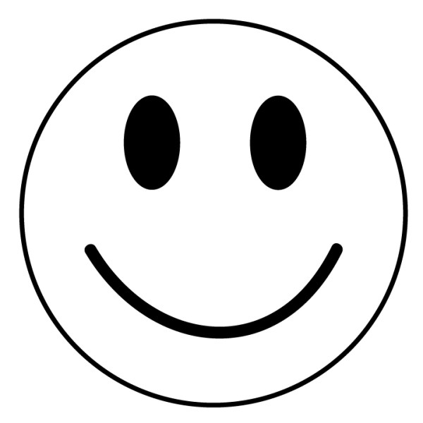 black and white smiley face