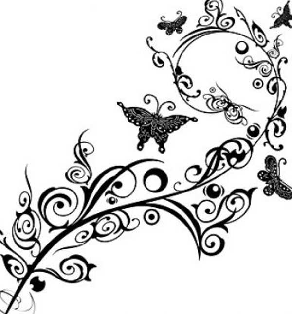 flower clipart black and white