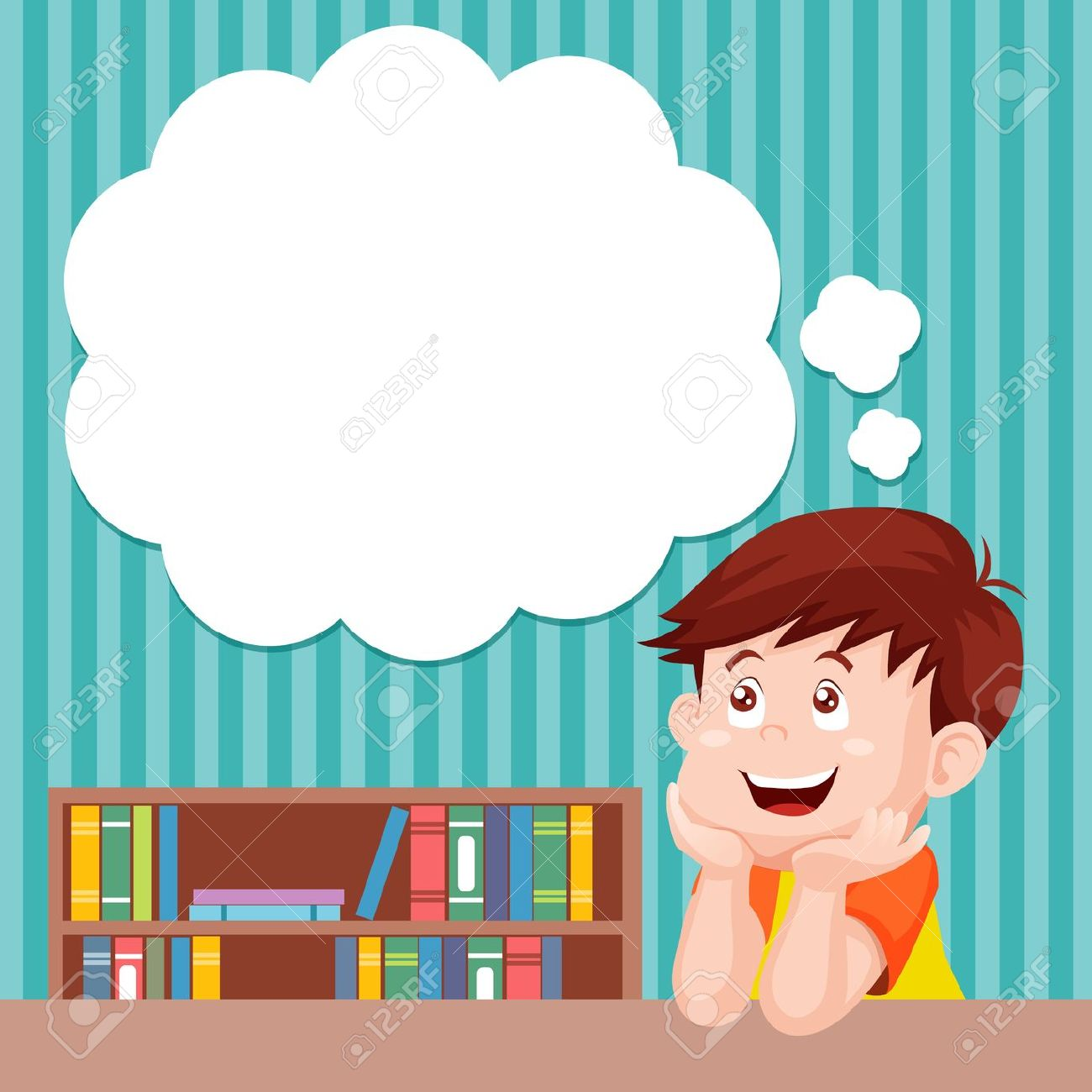 hight resolution of cartoon boy thinking with white bubble for text royalty free