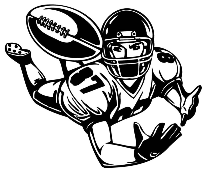 football player clipart black and white  clipartion