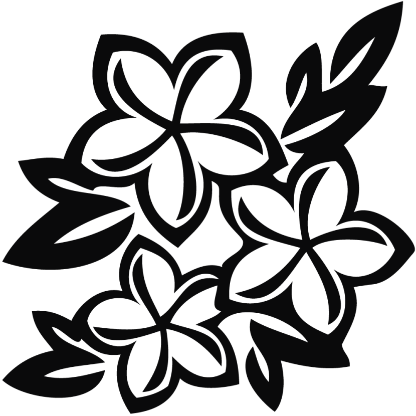 flower clipart black and