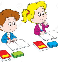 kids writing clipart schoolchildren royalty free cliparts vectors and stock [ 1300 x 1145 Pixel ]