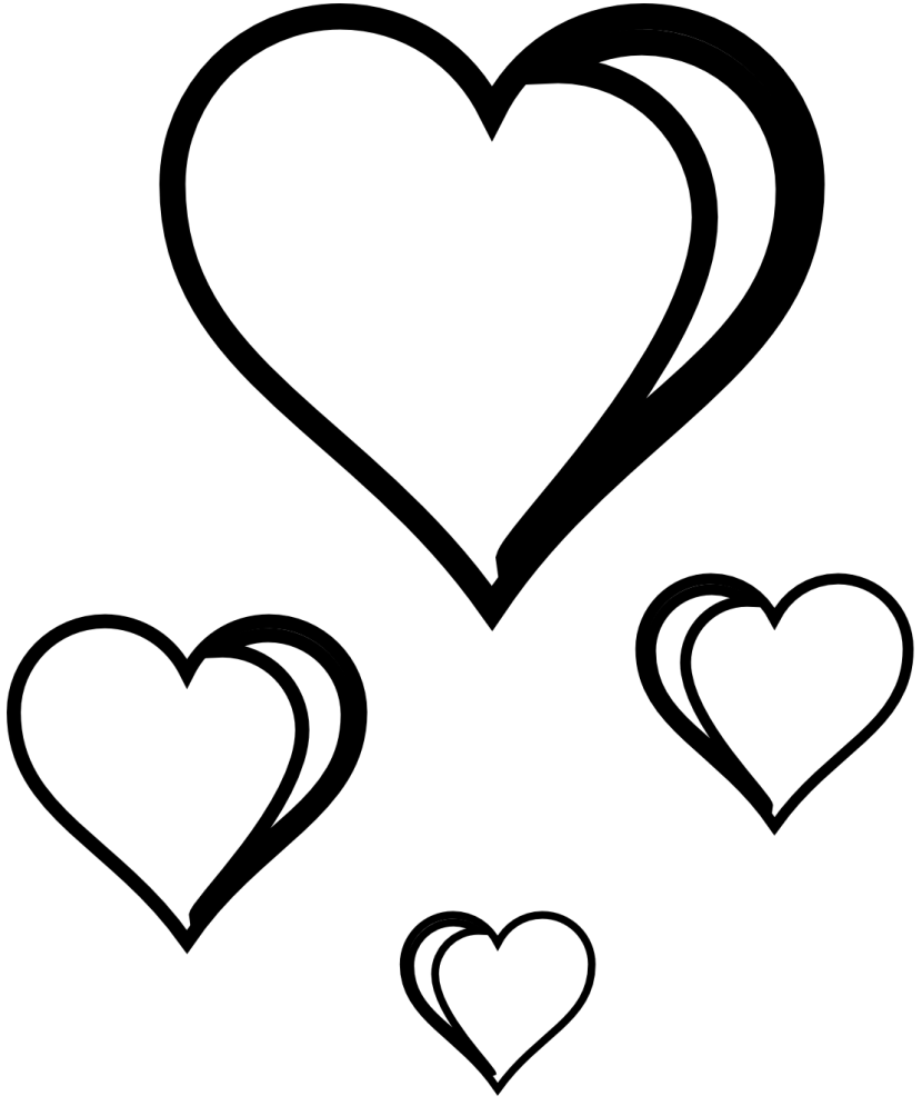 Two Hearts Clip Art Black and White