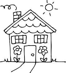 House Clipart Coloring Black White  Clipartioncom