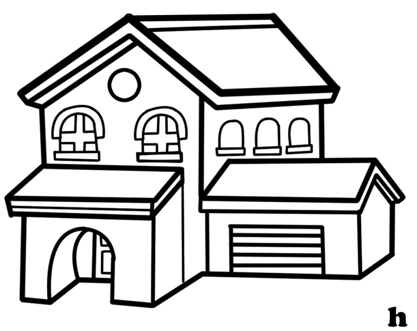 Best House Clipart Coloring Black White #29974