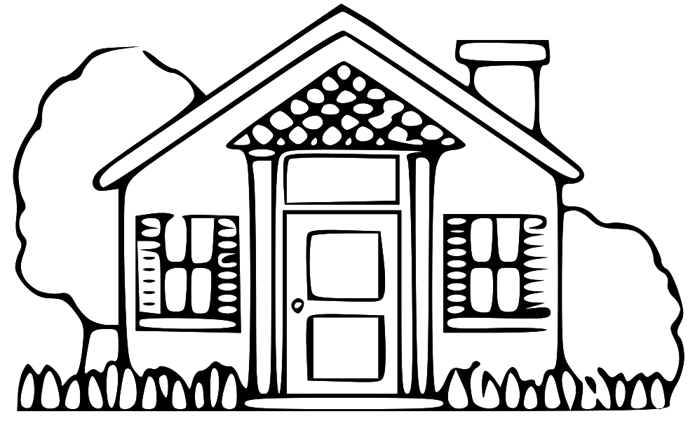 Best House Clipart Coloring Black White #29979