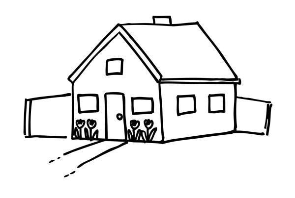 house clipart coloring black