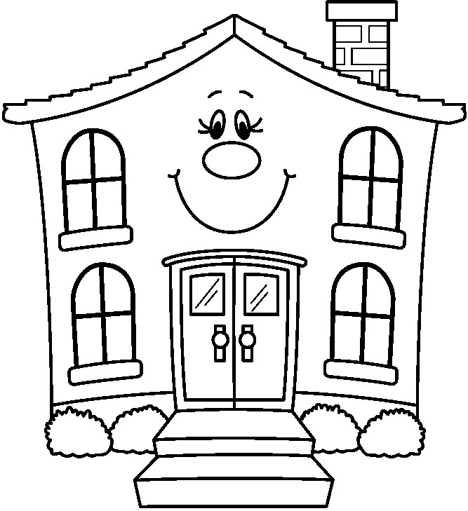 Best House Clipart Coloring Black White #29976