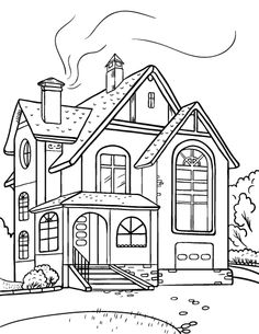 Best House Clipart Coloring Black White #29986