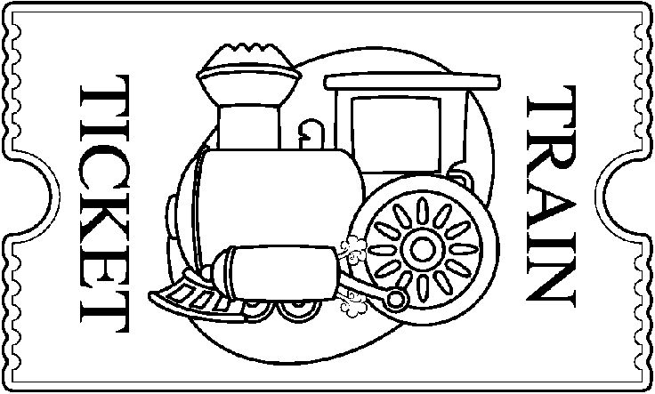 Train Ticket Clip Art Black And White Sketch Coloring Page