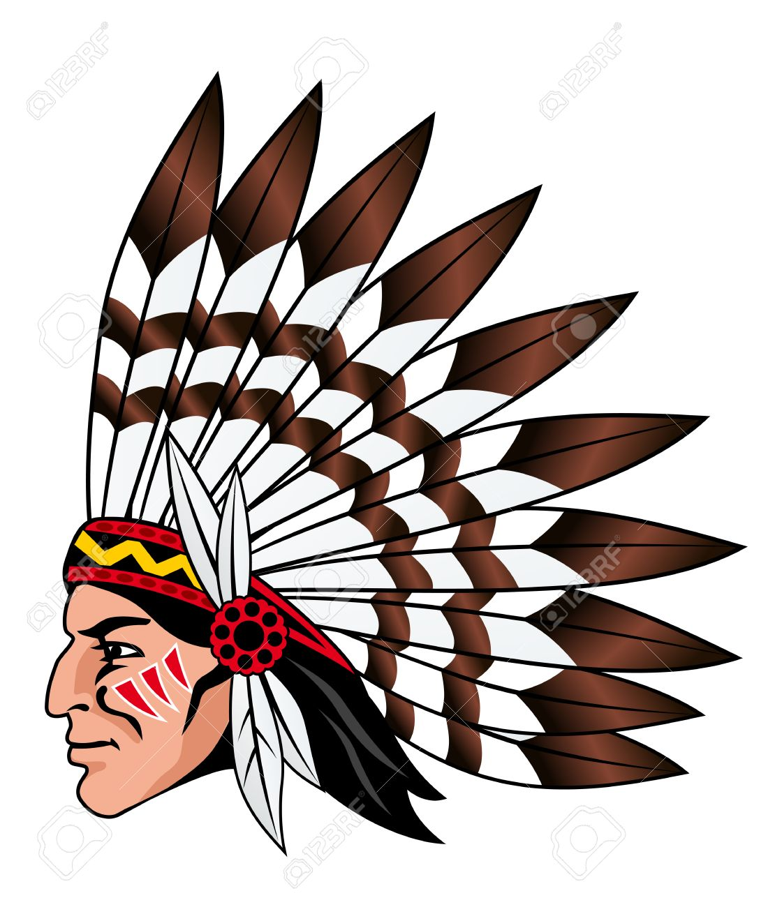 hight resolution of native american indian chief head clip art image clipartix