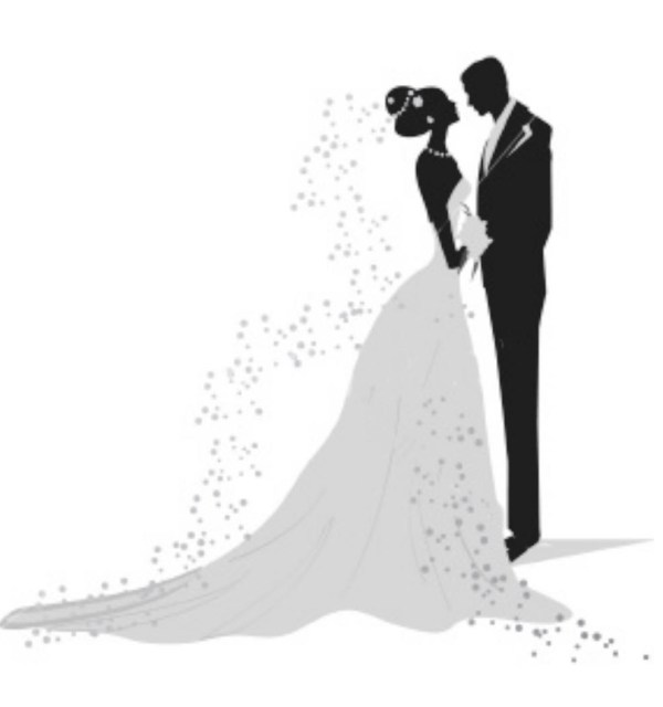 bride and groom clipart black