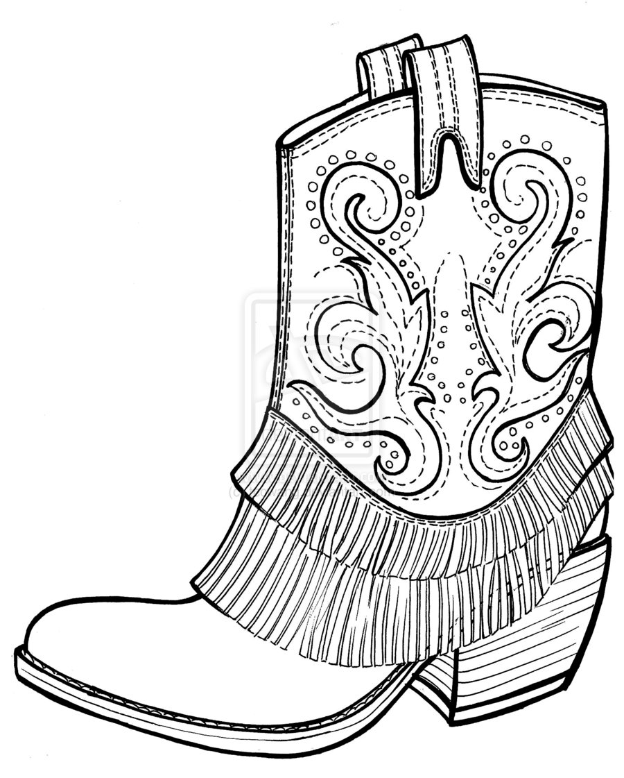 hight resolution of pics of black and white cowboy boots coloring pages cowboy clipart
