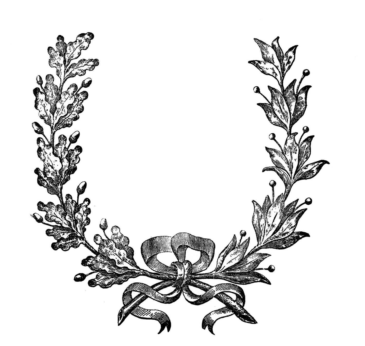 Vintage clip art french wreath engraving the graphics