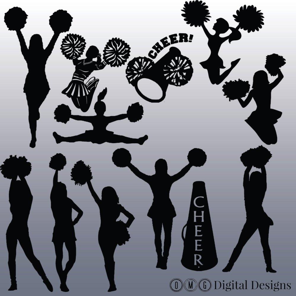 medium resolution of cheerleading silhouette clip art clipartfest