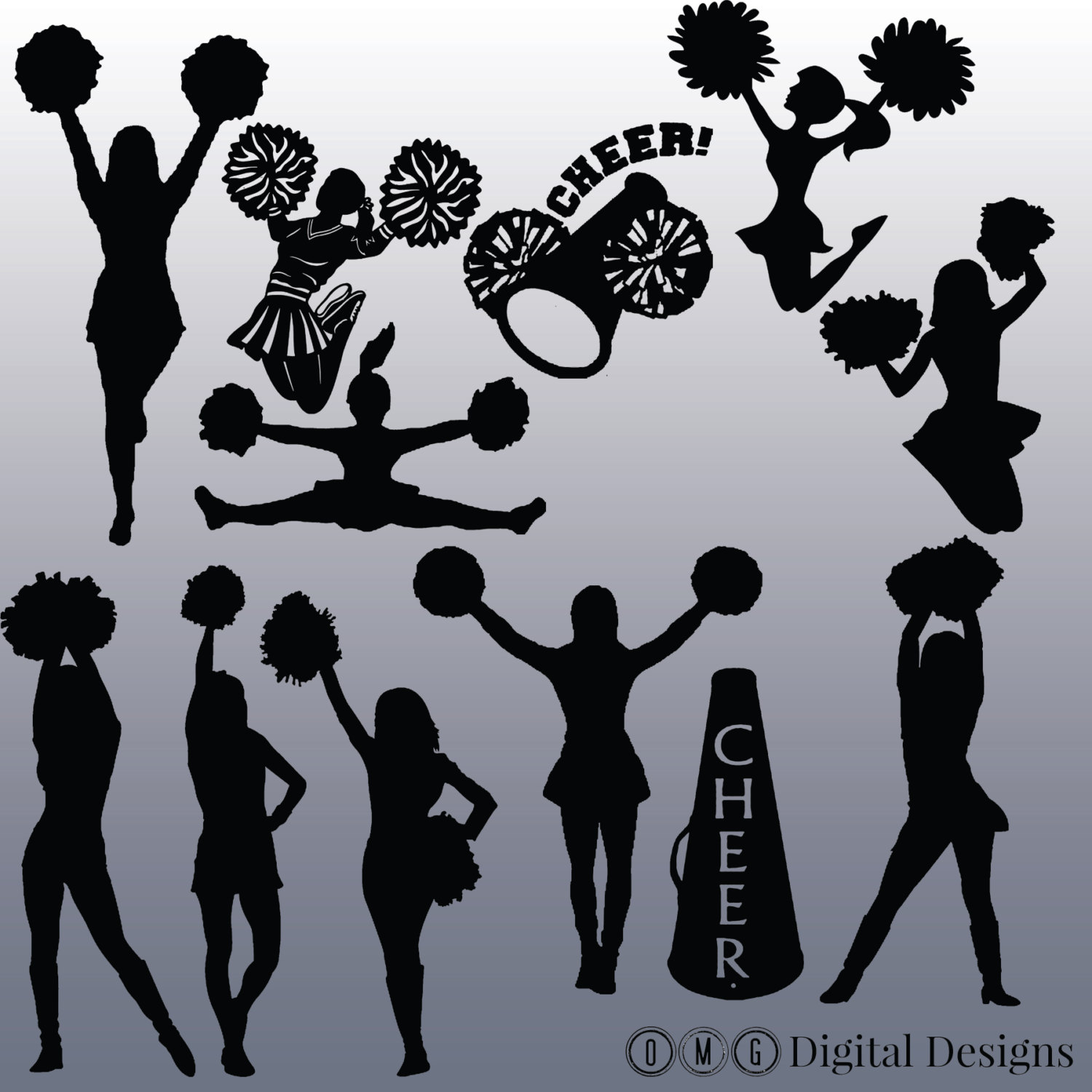 hight resolution of cheerleading silhouette clip art clipartfest