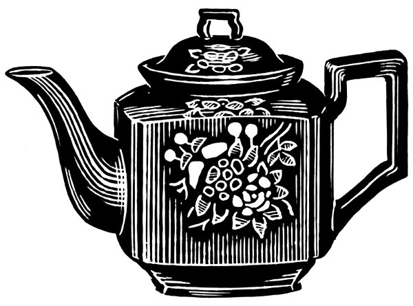 White And Black Clip Pot And Tea Art Cup