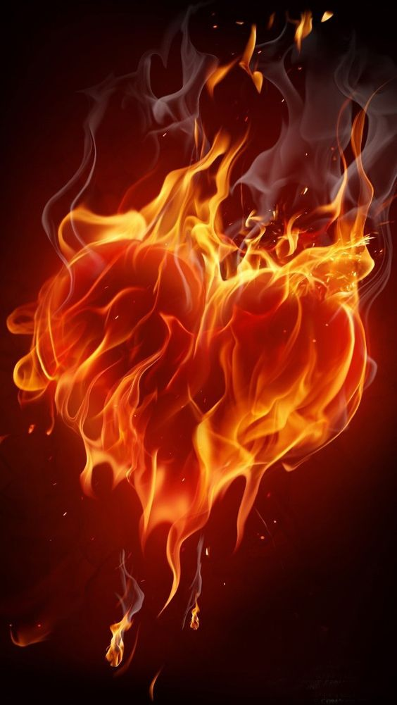 heart with flames my